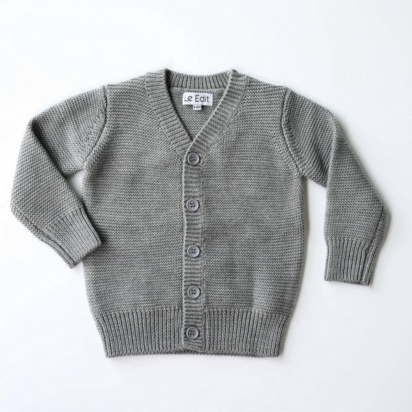 Cardigan - Le Edit - Merino Cardigan - Fog Grey