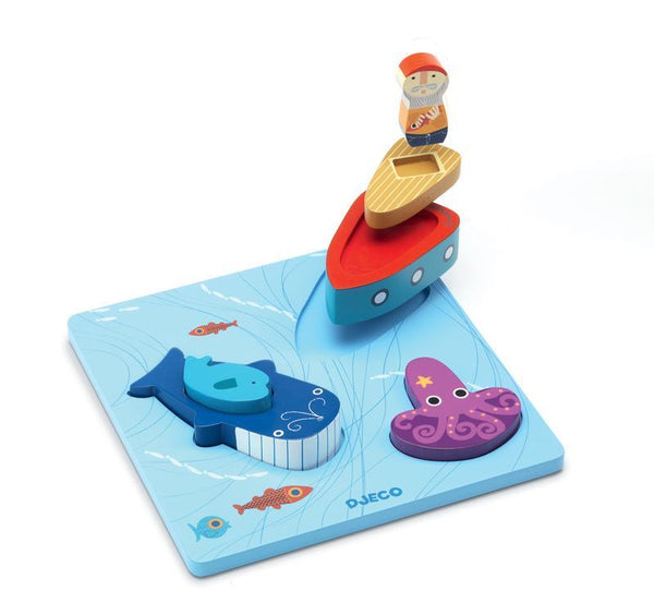 Puzzle - Djeco - Moby 3D Wooden Puzzle