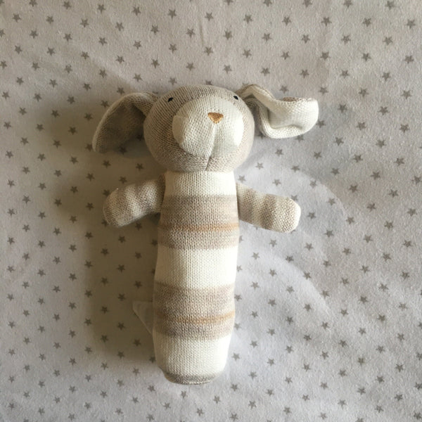 Rattle - Jujo Baby - Knitted Rabbit Rattle - Fawn