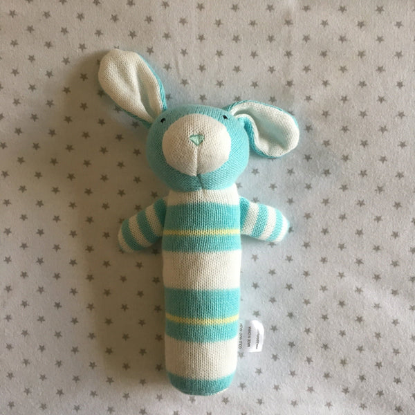 Rattle - Jujo Baby - Knitted Rabbit Rattle - Mint