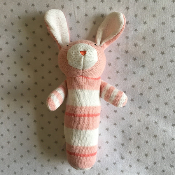 Rattle - Jujo Baby - Knitted Rabbit Rattle - Pink