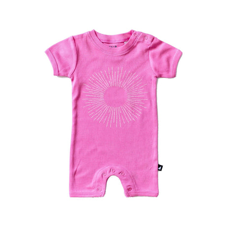 Short Sleeve Romper - ANARKID ORGANIC - DANDELION (ROSE) - SHORT SLEEVE ROMPER