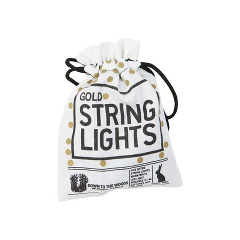 String Lights - Down To The Woods - String Lights Gold Batteries 5m