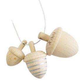 Wooden Toys - KIKO+ BY KUKKIA - DONGRI ACORN SPINNING TOPS (SET OF 3) (gold/silver)