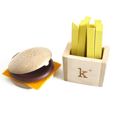 Wooden Toys - KIKO+ BY KUKKIA - HAMBURGER AND FRIES SET - MUSICAL INSTRUMENT SET