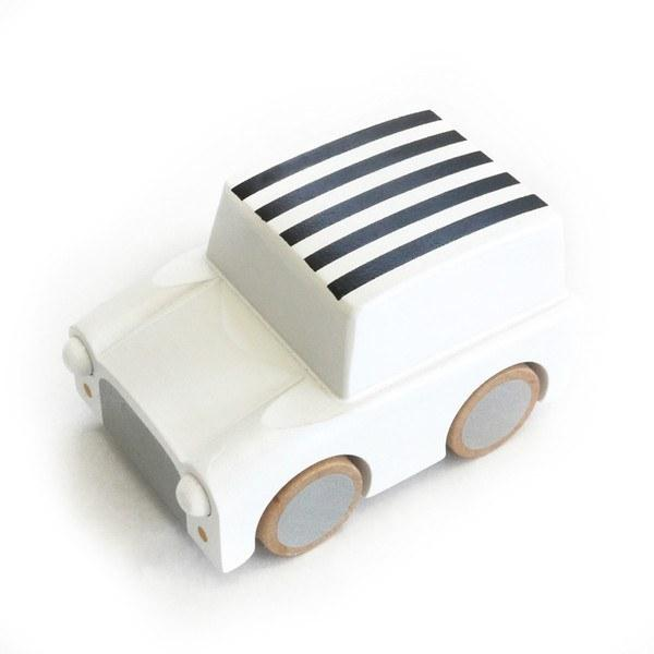 Wooden Toys - KIKO+ BY KUKKIA - KURUMA WOODEN CAR - WHITE STRIPE