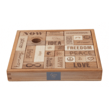 Wooden Toys - Wooden Story - Natural Peace & Love Blocks - 29 Piece