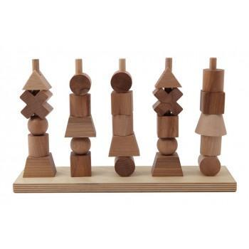 Wooden Toys - Wooden Story - Natural Shapes Stacking Blocks