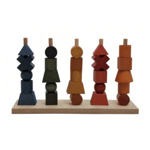 Wooden Toys - Wooden Story - Rainbow Shapes Stacking Blocks