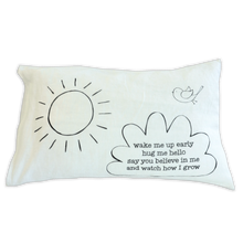 Load image into Gallery viewer, Small Pillow - double sided morning and night poems