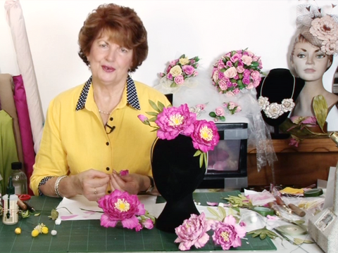 "Hat Academy Online Tutorial  D12  ""Peony Leather Flowers"" -Leather for Lesson - Exquisite Leather by Cherryl McIntyre, Brisbane Australia"