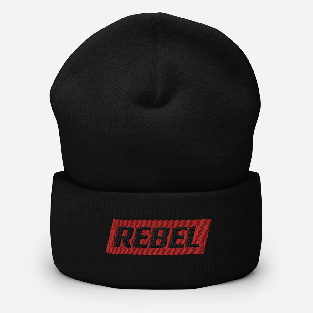 Rebel - Black Cuffed Tuque/Beanie 1