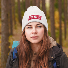 Load image into Gallery viewer, Rebel - White Cuffed Tuque/Beanie