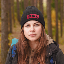 Load image into Gallery viewer, Rebel - Black Cuffed Tuque/Beanie 1