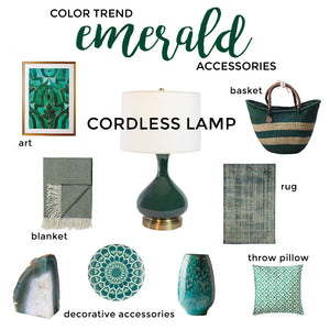 emerald color trend with modern lantern cordless lamp
