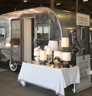 Vintage Camper with our Cordless Lamps by Modern Lantern