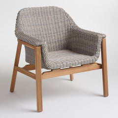 outdoor armchair in gray and teak