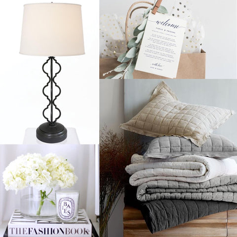 collage of accessories for a cozy guest bedroom