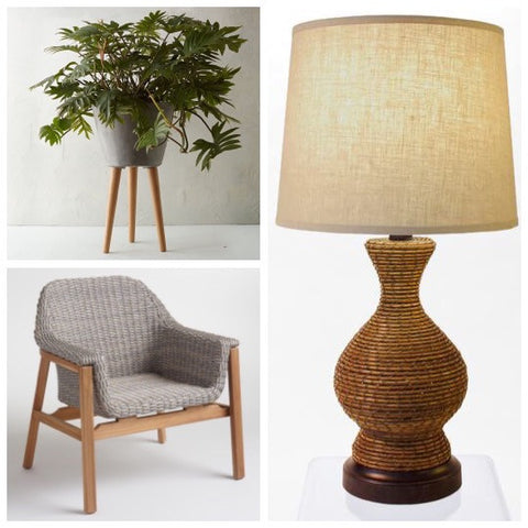 natural outdoor looks with chair, planter, and cordless lamp