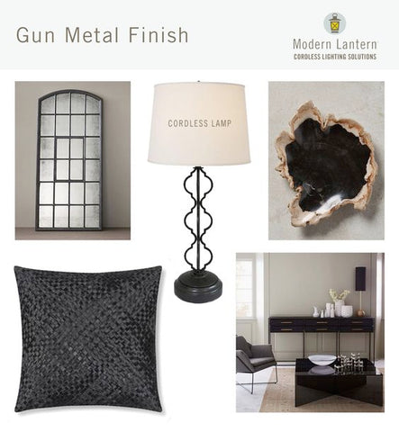 collage of gun metal furniture