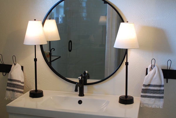 pair cordless lamps on bathroom vanity