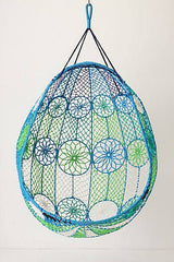 blue and green hanging chair