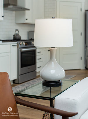 Bartlett Gray Cordless Lamp, Lamps Made in the USA, rechargeable lamp, battery operated lamp