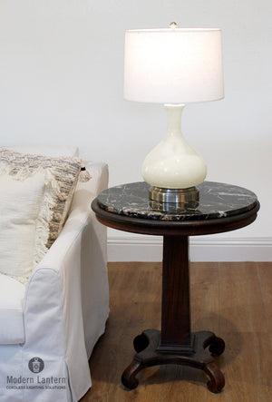 Bartlett Ivory Nickel Cordless Lamp, Lamps Made in the USA, rechargeable lamp, battery operated lamp