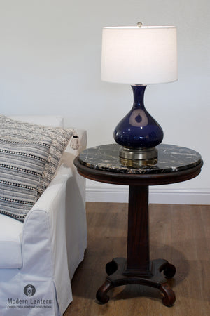 Bartlett Lapis Navy Blue on Nickel Cordless Lamp battery operated by modern lantern