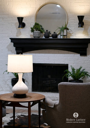 Bartlett Ivory on black metal base made in usa cordless lamp