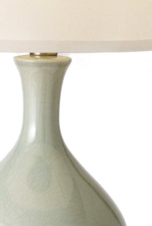 Bartlett Celadon on Brass Cordless Lamp - Made in the USA