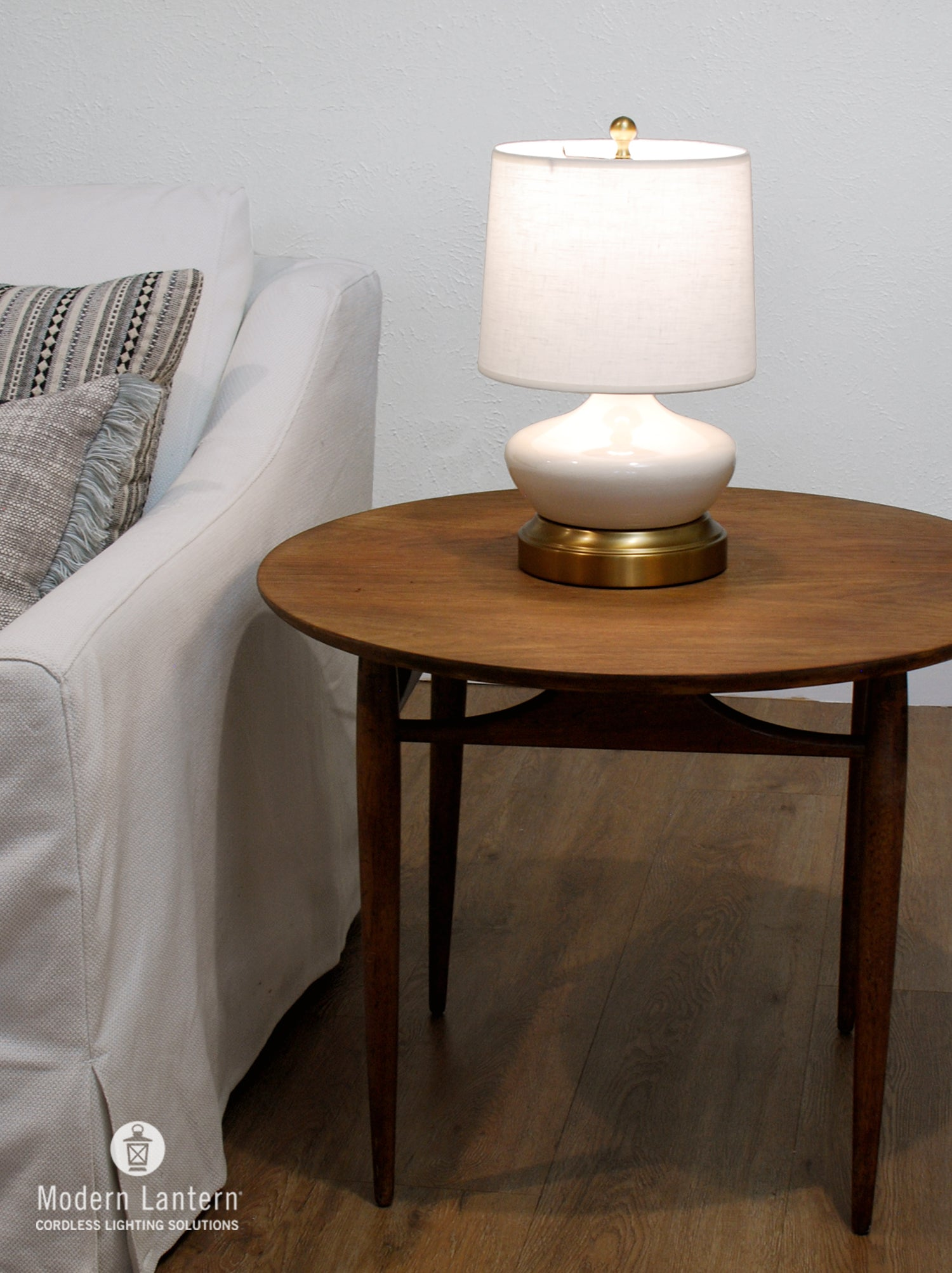 Bella Ivory Brass Small Cordless Lamp Made In The Usa Modern Lantern