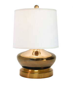 Bella bronze ceramic cordless lamp on brass metal base