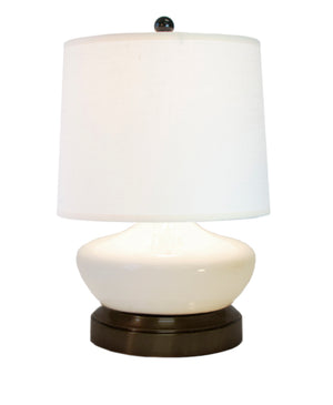 Bella Ivory ceramic with bronze black metal cordless battery operated mini lamp