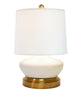 Bella Ivory ceramic with brass cordless battery operated mini lamp