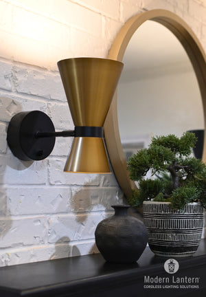emerson black with brass shade cordless wall sconce by modern lantern