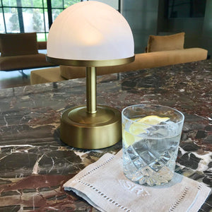 cordless mini rechargeable lamp art deco brass alabaster shade