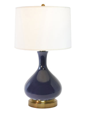 Bartlett Lapis Navy Blue on Brass Cordless Lamp battery operated by modern lantern