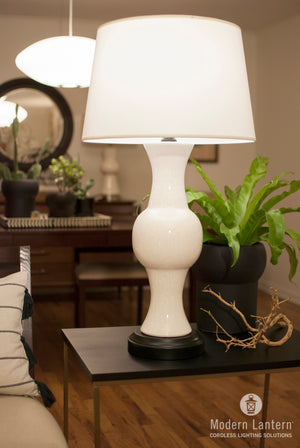 Jamison Ivory Crackle Cordless Lamp by Modern Lantern