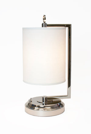 Jynn chrome rechargeable battery operated lamp goes anywhere