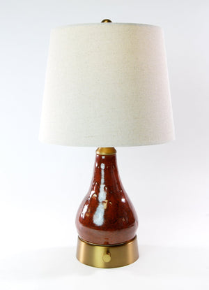 SMALL - Limited Edition Rust Glaze Ceramic Artist Series - Larger Mini Cordless Lamp - Made in the USA