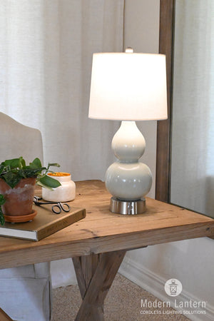 norma jean ceramic cordless mini lamp celadon nickel finish