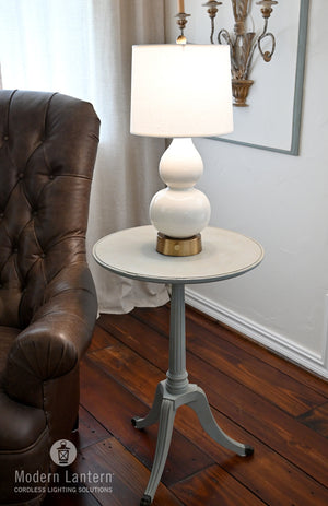 Norma Jean ivory ceramic cordless lamp on brass