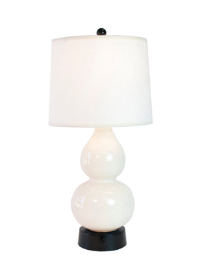 Norma Jean Ivory Ceramic on Black - Mini Cordless Lamp -  Made in the USA
