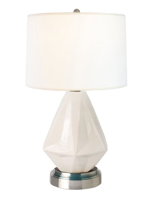 Prisma white on nickel cordless table lamp battery operated by modern lantern