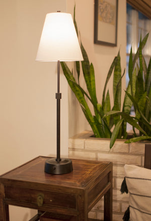 mini telescopic battery operated cordless lamp in bronze