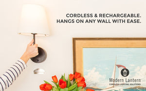 Nickel cordless wall lamp rechargeable modern lantern