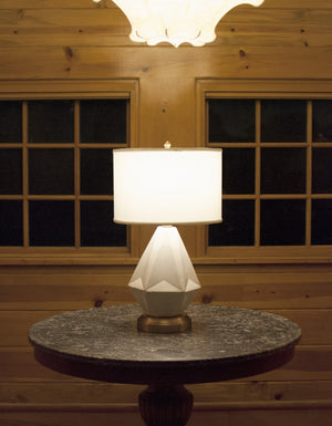 Prisma white on brass cordless table lamp battery operated by modern lantern