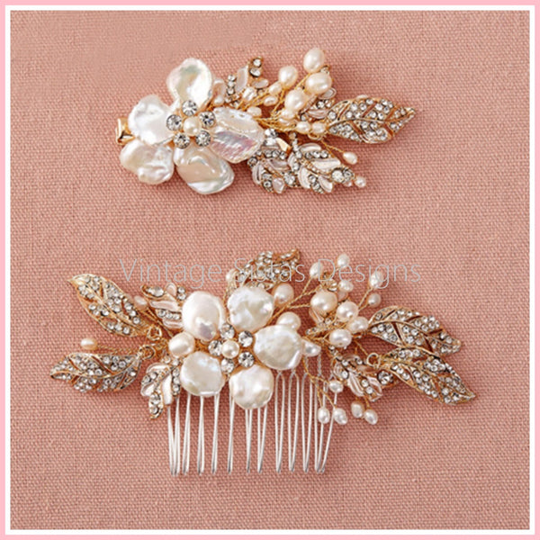2pc Set Bridal Pearl Hair Comb and Grip