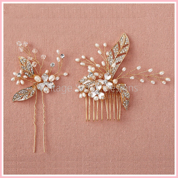 2pc Set Gold Plated Flower Hair Comb